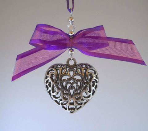 Silver Tone Tibetan Heart, Purple Satin Edge Chiffon Bow & Crystal - Xmas Tree Decoration